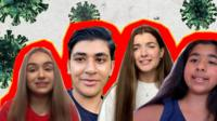 four young people - Isabel, Qais, Leah and Inarah