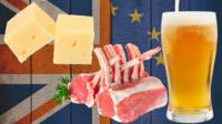Cheese, chops and beer over UK/EU flag background