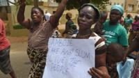 Residents in the Nigerian city of Lagos protest after a fire left thousands homeless.
