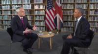 Huw Edwards and President Barack Obama
