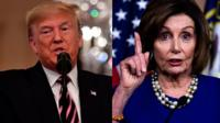 President Trump and House Speaker Nancy Pelosi took jibes at each other a day after his acquittal.