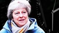 Theresa May and clock graphic