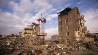 Devastated buildings