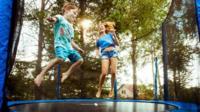 Children on a trampoline