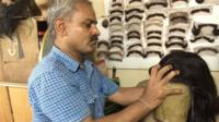 Marishetty Kumar, a wig-maker based in the southern Indian city of Bangalore
