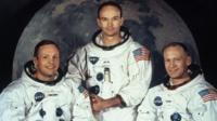 "Neil Armstrong, Edwin ""Buzz"" Aldrin y Michael Collins del Apolo 11."