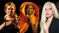 Montage of Adele, Grace Jones and Lady Gaga