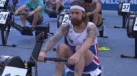 Bradley Wiggins using a rowing machine