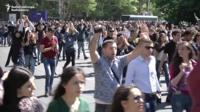 Protesters in Yerevan
