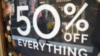 Sign showing 50% off sale.