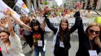 March in Warsaw against proposed changes to Poland's abortion laws