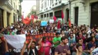 Protesters in Lima, Peru