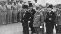 Japanese Foreign Minister Mamoru Shigemitsu (8-R) and Japanese General Yoshijiro Umezu (6-R) and the Japansese delegation aboard the USS Missouri for the signing the surrender documents on 2 September 1945