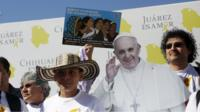 """Activists demonstrate in support of migrants before Pope Francis"""" visit to Ciudad Juarez, February 16, 2016."""