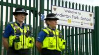 Police outside Anderton Park Primary School on Friday