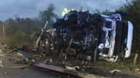It caused major delays at junction 17 for Maple Cross in Hertfordshire, but nobody was serious hurt.