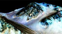 Computer generated images, showing how Nasa believes dark stripes on the mountains of Mars are liquid water.