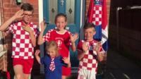 Children in Croatia football kit