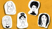 Graphic of five women's faces