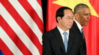 US President Barack Obama and Vietnam's President Tran Dai Quang after a press conference at the International Convention Center in Hanoi on 23rd May 2016.