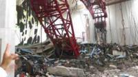 View inside the Grand Mosque where crane collapsed
