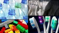 Assortment of plastic items: bottles, plastic forks, toothbrushes, plastic bricks
