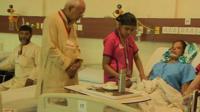 Acid attack victim in hospital in Delhi.