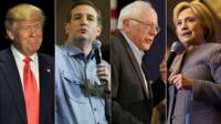 Presidential candidates Donald Trump, Ted Cruz, Bernie Sanders and Hillary Clinton campaigning in Iowa