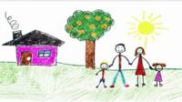 Child drawing: Mum, dad, 2 kids, house, tree, sun+