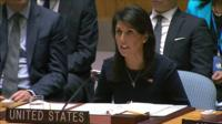 Nikki Haley, sitting at her seat in the UN Security Council