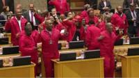 EFF politicians dance in parliament in South Africa