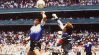 Diego Maradona and Peter Shilton