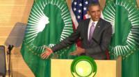 President Barak Obama addressing the leadership of the African Union.