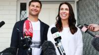 New Zealand's Prime Minister Jacinda Ardern with partner Clarke Gayford