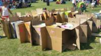 The cardboard castle at Kidz Fest