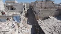 Drone footage shows destruction in Aleppo