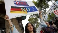 A woman holds a banner supporting Greece during a pro-Greece protest in front of the European Union office in Barcelona, Spain, July 3, 2015.