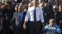 Michelle Obama, John Lewis, Barack Obama and Amelia Boynton Robinson