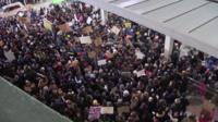 Protests at JFK Airport, New York