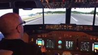 Inside the flight simulator