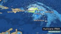 BBC Weather graphic showing Hurricane Irma in the Atlantic.