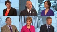 Ruth Davidson, Patrick Harvie, Kezia Dugdale, David Coburn, Nicola Sturgeon and Willie Rennie