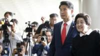 Former first lady Lee Hee-ho (2nd R), widow of late South Korean President Kim Dae-jung, arrives at Gimpo Airport in Seoul, South Korea, August 5, 2015
