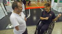 The BBC's Paul Carter (L) and Para-athlete powerlifter Eli Yamamoto-McDonald