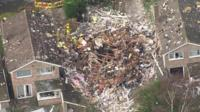 Aerial view of Haxby house explosion