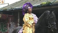 Yoruba woman on horse