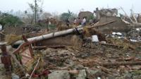 Destroyed houses after a tornado in Funing, in Yancheng, in China's Jiangsu province.