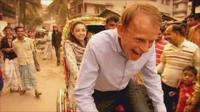 Andrew Marr driving a rickshaw