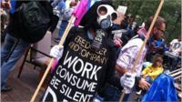A protestor at the Occupy Wall Street protest