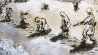 Sketch of soldiers marching through snow in WWII